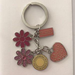 Coach Flower Charm Keychain